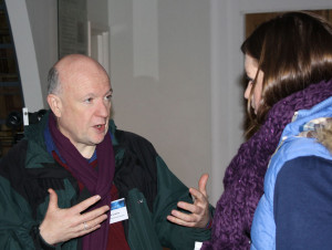 David chatting to a member of the public in the Telescope Workshop
