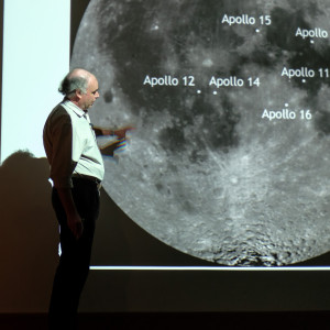 Prof Ian Crawford shows the location of the Apollo landing sites