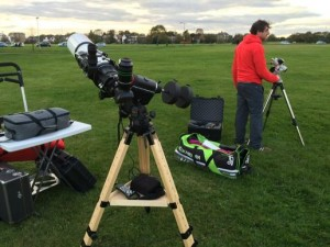 Setting up the telescopes on Blackheath