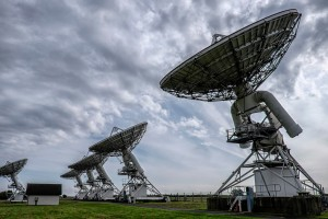 Six Radio Antennas from the AMI Large Array