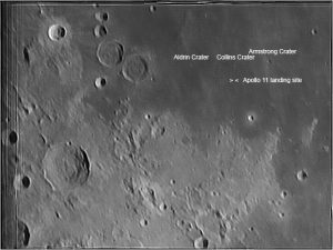 Moon from Blackheath 14 May 2016 showing Apollo 11 landing site