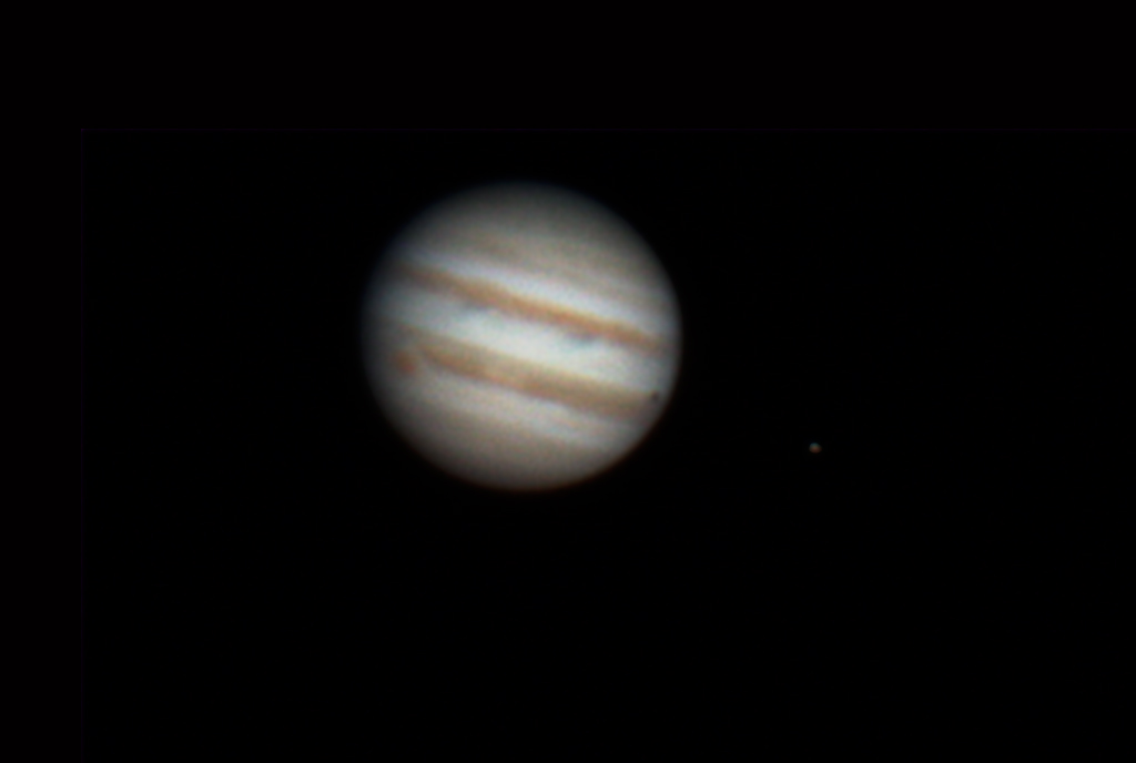 Io shadow transit on Jupiter with Great Red Spot by Tej Dyal 25 March 2014