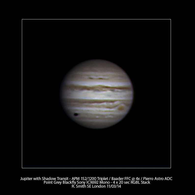 Jupiter with Shadow Transit by Rupert Smith