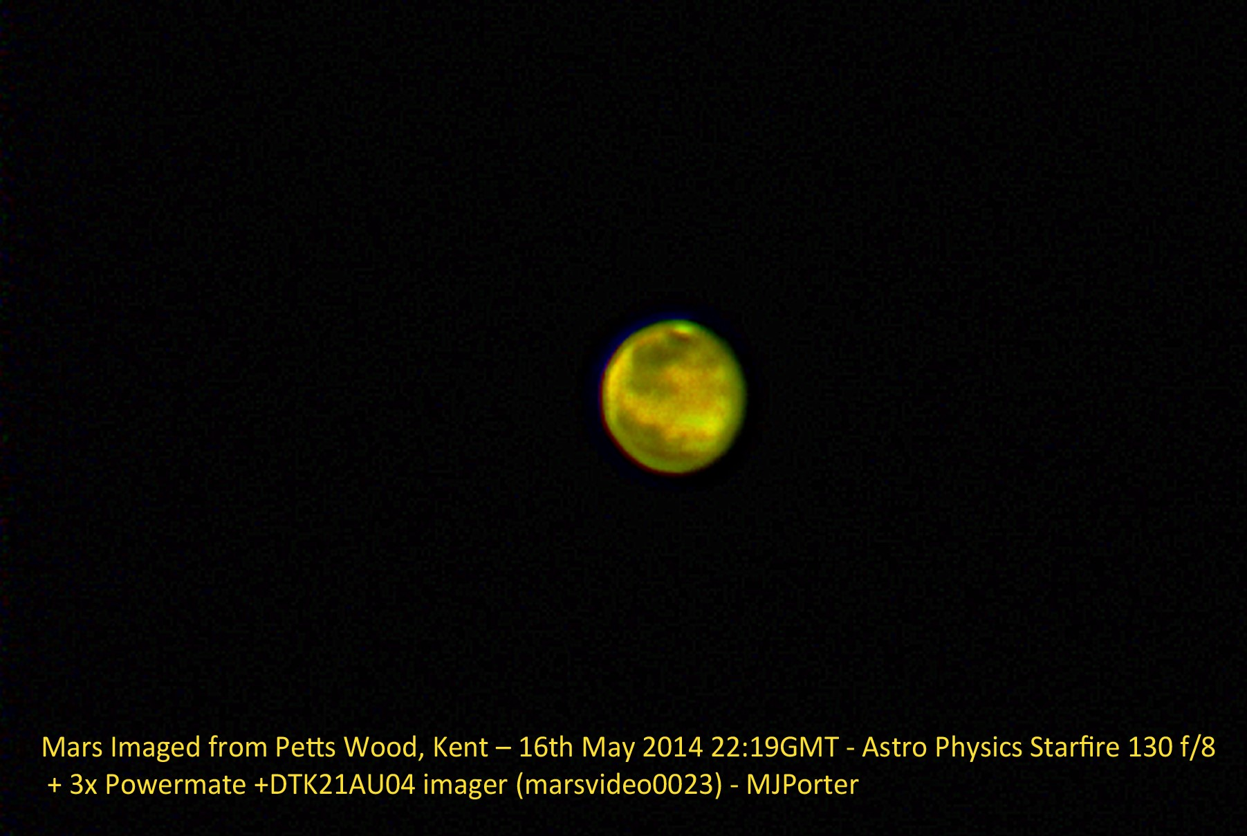 Mars imaged from Petts Wood by Malcolm Porter
