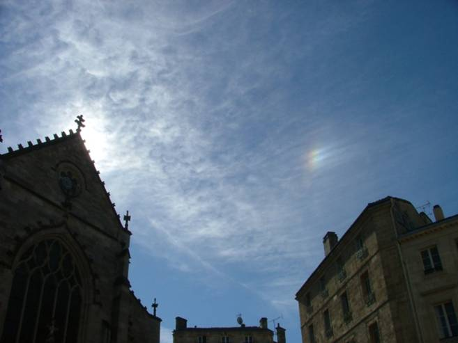 Sun Dog (Parhelion). St Peter's Church, Bordeaux, France