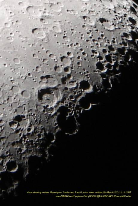 Moon showing craters Maurolycus, Stofler, and Rabbi Levi
